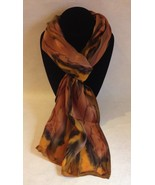 Hand Painted Silk Scarf Gold Copper Brown Oliver Green Womens Rectangle ... - $44.00