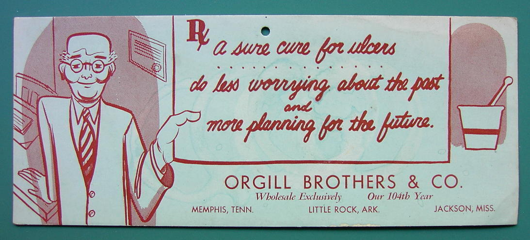 INK BLOTTER 1950s - Ad for ORGILL BROTHERS Pharmacy Little Rock Arkansas