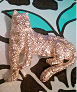 Vintage Wild Cat Cougar Jaguar Textured Silver Tone Pin Brooch - $2.85