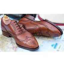 Handmade Men's Genuine Brown Leather Wingtip Lace Up Oxford Brogue Shoes - $144.99
