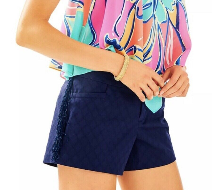 Primary image for LILLY PULITZER Ellie Shorts With Side Fringe, Size 6 TRUE NAVY, $88