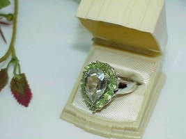 Sterling Peridot & Pear Quartz Ring Sz: 9~ 8.2Gr Vintage Gallery Huge 10... - $197.99