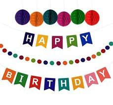 Artistrend Happy Birthday Banner Decorations Set with Colorful Pom Pom B... - $320,15 MXN