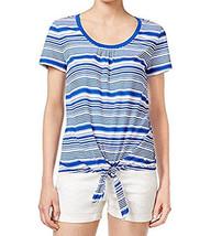 4415-1 Tommy Hilfiger Womens Small Tie-Hem Stripe Tee T-Shirt - $13.88
