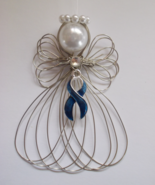 Blue Ribbon Awareness Angel Ornament Handmade - $8.00
