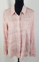 Splendid women M capri Henley button down shirt long sleeve blouse - $34.60