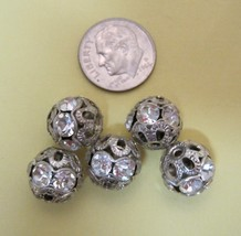 Lot of 5 Vintage Silver Metal Filigree & Rhinestone Studded 12MM FB-7 - $9.41