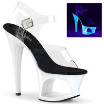 "PLEASER 7"" Heel Neon White UV Reactive Cutout Platform Ankle Strap Women... - $52.95"