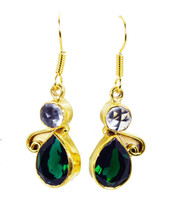 adorable Crystal Emerald CZ Gold Plated Multi Earring genuine wholesales US gift - $14.84