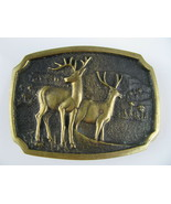 Vintage BTS Solid Brass Belt Buckle Deer in The Woods - $49.45