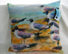 Seabirds Watercolor Indoor Outdoor Throw Pillow by Manual New w Tags-2 A... - £24.93 GBP