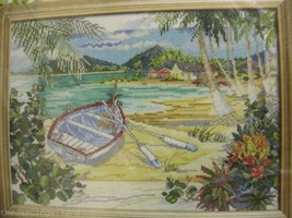 Bucilla Island Boat WM45633 Sealed Counted Cross Stitch Kit 13x10 Beach  - $17.99