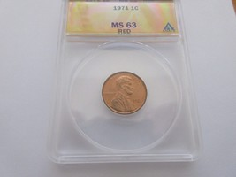 1971 Lincoln Cent , ANACS , MS 63  ,  RED - $15.00