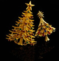Vintage Christmas Tree brooch set / Signed MYLU star pin / Christmas gift for he image 3