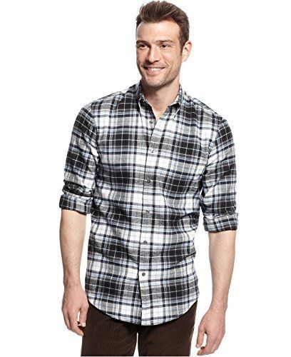 Primary image for John Ashford Men's Deep Black Ivory Blue PLaid Flannel Button Front Shirt New