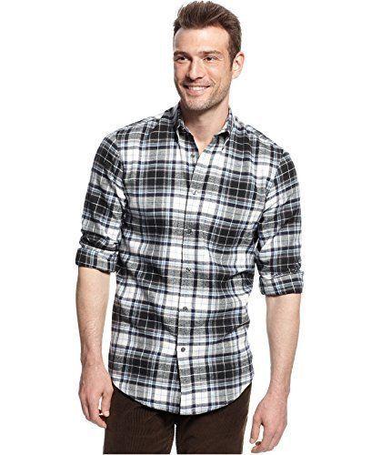 John Ashford Men's Deep Black Ivory Blue PLaid Flannel Button Front Shirt New