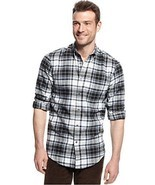 John Ashford Men's Deep Black Ivory Blue PLaid Flannel Button Front Shir... - £17.00 GBP