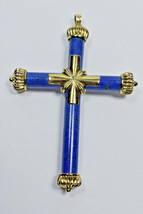 "Etruscan 3.25"" XL Lapis Reversible 14K Yellow Gold Cross Necklace Pendant 17g - $1,838.10"