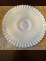 Vintage Fenton White Milk Glass Ruffled Pedestal Cake Plate - $56.09