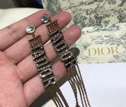 NEW AUTH Christian Dior 2019 J'ADIOR EARRINGS GOLD CRYSTAL DANGLE MULTI STRAND image 9