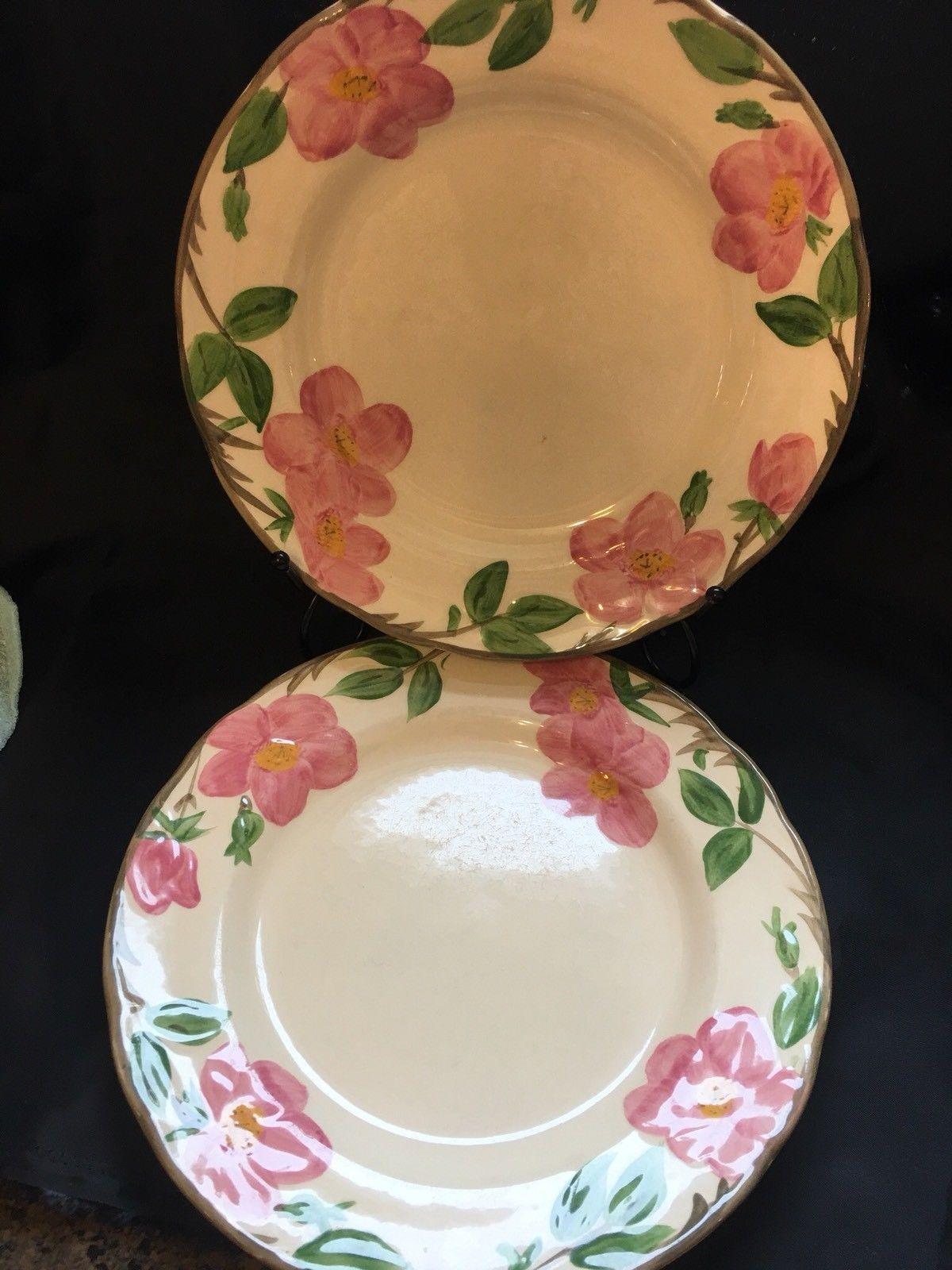 Franciscan Desert Rose Dinner Plate England Backstamp Flowers Vine Trim - $16.82
