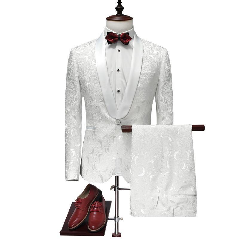 2017 Latest Jacket Pant Designs White Wedding Tuxedos Slim Fit