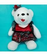 Vintage Christmas Teddy Bear Stuffed Plush White Red Plaid Dress Checker... - $21.77
