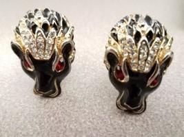 Vintage Black Panther Clip on Earrings Big Cat Rhinestones Ruby Eyes Enamel - $35.52