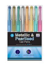 A Star Metallic & Pearlised Gel Pens Pack 8 #aaf - $5.79