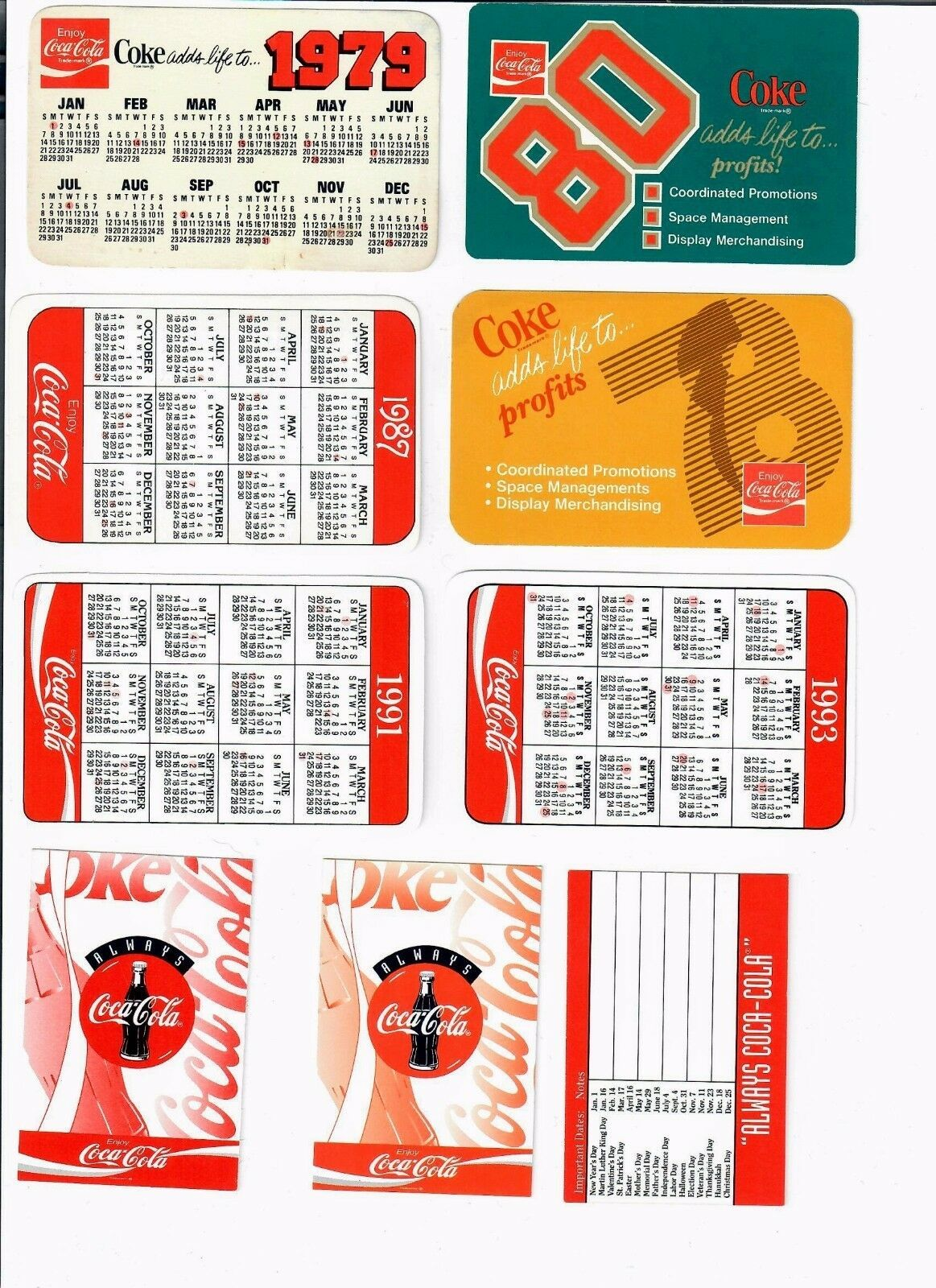 Coca-Cola Vintage Pocket Calendars (Various Years - 9 DIFF))   free shipping - $8.66