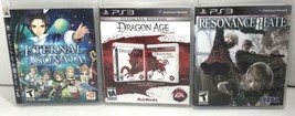 PS3 Lot of 3 Games Resonance Fate, Dragon Age Origins Eternal Sonata CIB - $38.49