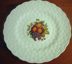 #3 Copeland Spode Luncheon Plate Ring Fruit Bouquet Embossed Daisies Eng... - $28.26