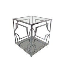 Amston End Table with Clear Glass Top & Stainless Steel Frame - $660.19
