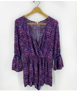 American Eagle Romper Size Small Blue Pink Floral Bell Sleeve Boho One P... - $23.76