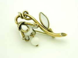 CROWN TRIFARI Vintage White Milk Glass Flower LILY Gold Tone Brooch Pin  - $49.49
