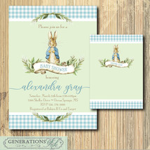 Peter Rabbit Shower Invitation Boy, Thank you Note, Digital File, printa... - $14.99