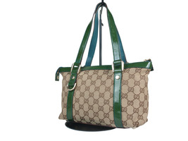 Authentic GUCCI GG Pattern Canvas Patent Leather Browns Hand Bag GH17953L - $179.00