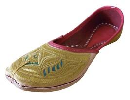 Women Shoes Mojari Gold Indian Handmade Bride Flip-Flops Leather Jutti U... - £24.51 GBP
