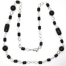 Halskette Silber 925, Onyx Schwarz Röhre und Rund, Länge 80 cm, Kette Rombi image 2