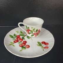 Vintage Seymour Mann Berries Luncheon Set 4 Snack Plates 4 Cups Made in ... - $49.99