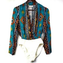 Vintage Southwestern Print Bodysuit S Teal Orange Surplice Neckline Long... - $29.99