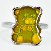 Kid's Fashion Silver Tone Teddy Bear Color Changing Fashion Adjustable Mood Ring