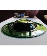 LARGE EMERALD GREEN HAT SHAPE ART GLASS CENTERPIECE BOWL  - $75.00