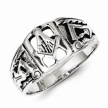 STERLING SILVER ANTIQUED MASONIC  RING -  SIZE 10 - £15.01 GBP