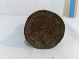 Vintage Antique Metal Statue Asian Stamped Signed Robed Man Crown Bowl Scepter image 2