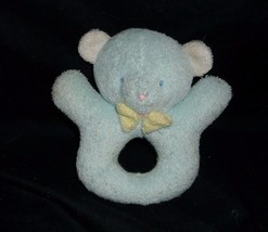 "5"" SMALL VINTAGE EDEN BABY BLUE TEDDY BEAR ROUND RATTLE STUFFED ANIMAL P... - $14.03"