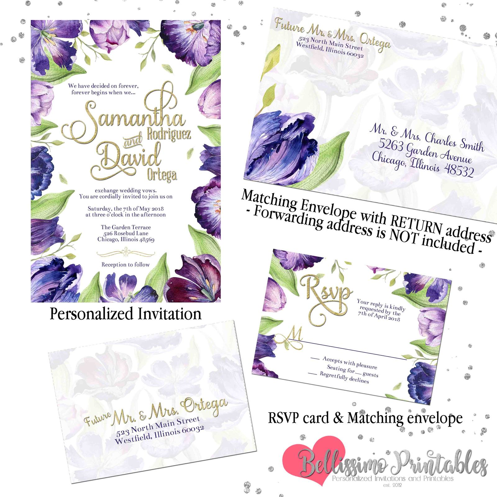 THANK YOU CARDS purple roses Personalised A6 envelope wedding invitations