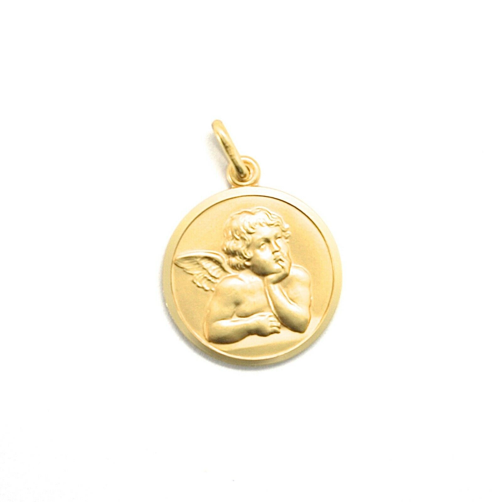 SOLID 18K YELLOW GOLD MEDAL, GUARDIAN ANGEL, 11 mm DIAMETER, VERY DETAILED