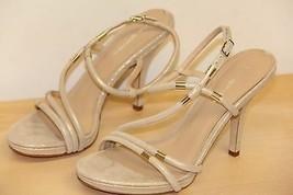 NIB Via Spiga GENE Suede Open Peep Toe Strappy Sandals Sz 8 M  Gold - $72.38
