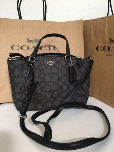 df44147690d3 NWT COACH F57830 Mini Kelsey Signature Crossbody Shoulder Bag Purse Black  Smoke